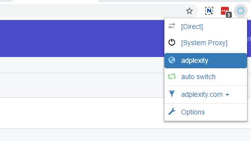 Choosing Proxy in SwitchyOmega